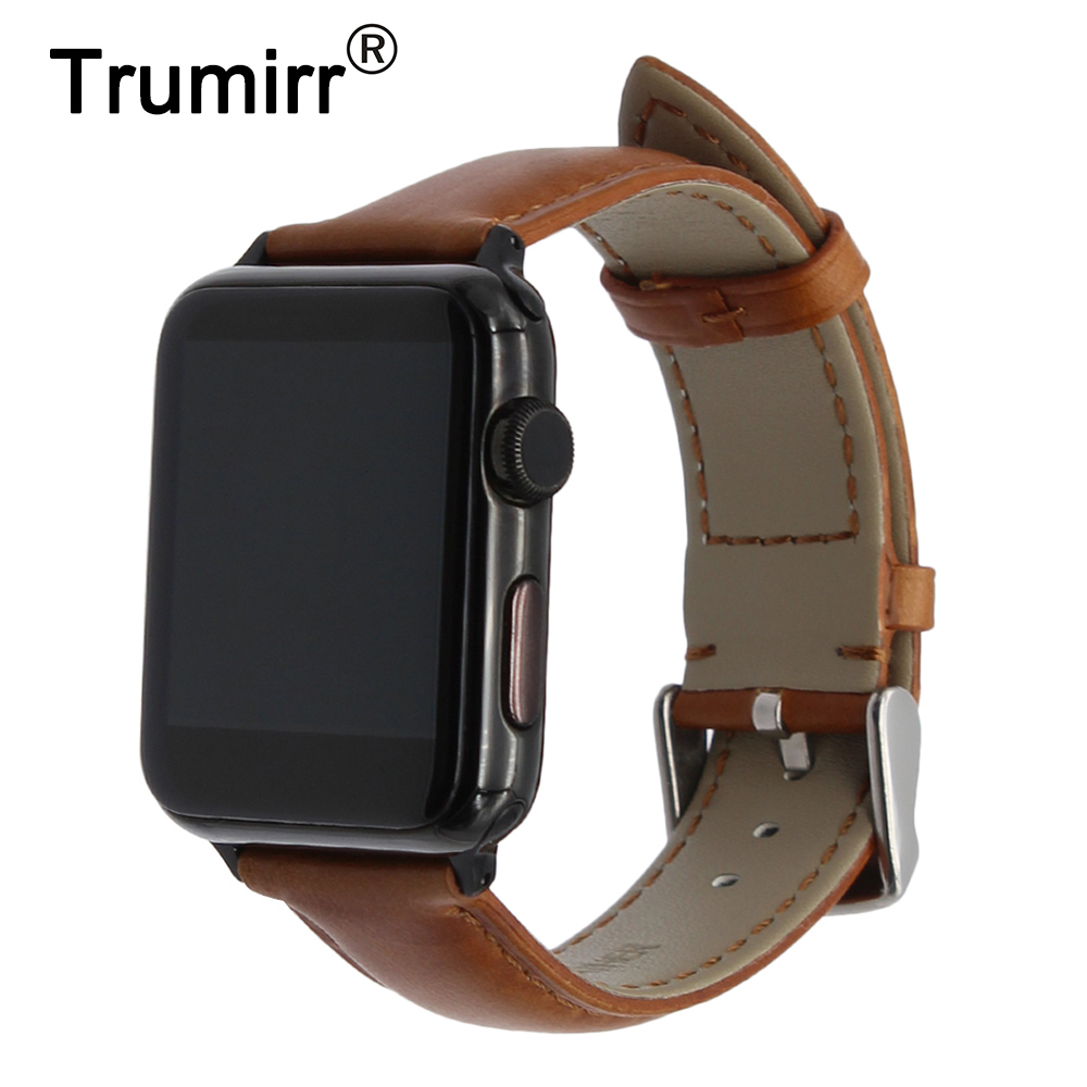 Italian Calf Genuine Leather Watchband + New Adapters for iWatch Apple Watch 38mm 42mm Steel Buckle Band Wrist Strap Bracelet italian genuine calf leather watchband for iwatch apple watch 38mm 42mm series 1 2 3 band alligator grain strap wrist bracelet