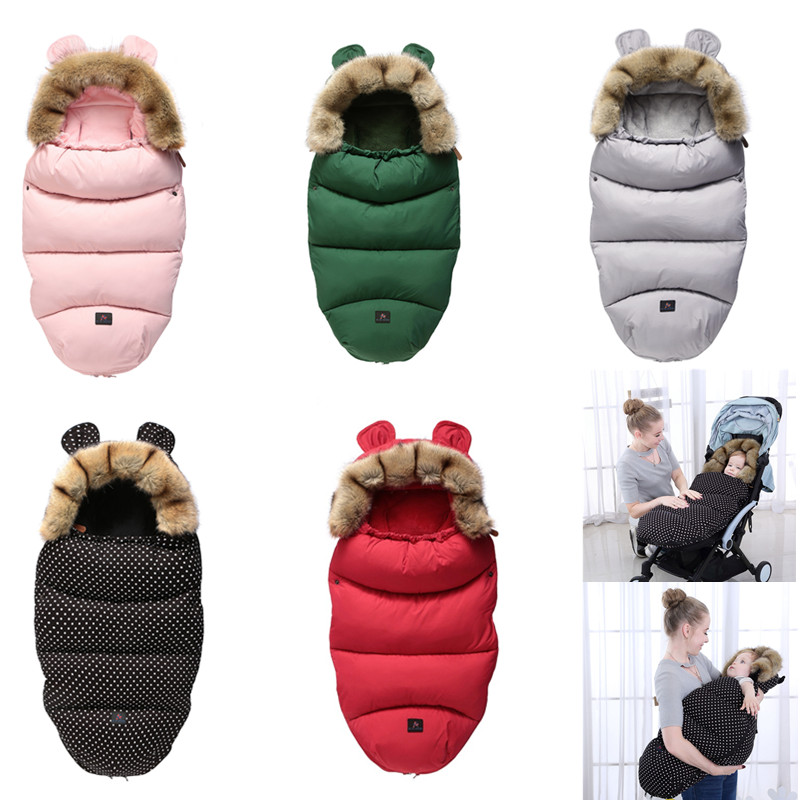 New Baby Sleeping Bag Thicken Winter Warm Stroller Sleep Bag Sacks Robe Infant Wheelchair Envelopes Newborns Footmuff Pram