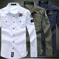 Nuevo 2016 moda de estilo militar fuerza aérea de italia bordado epaulet camisa hombres camisa delgada del ajuste ropa hombre chemise homme / CS15