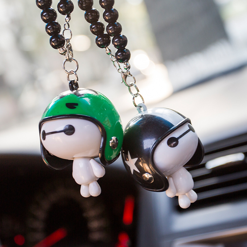 Car Pendant Cute Helmet Cartoon Baymax Robot Doll Ornaments Automobiles Accessories Rearview Mirror Hanging Decoration Gifts