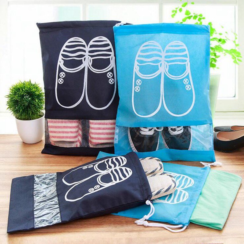 Waterproof Shoes Bag Storage Drawstring Travel Accessories Bag Non-Woven Fabric Dust-Proof Organizers Functional Bag Case Cubes