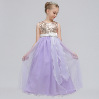 Perakende Butikler Çiçek Aplikler Ile Boncuk Shining Çocuk Zarif Düğün Uzun Elbise Kızlar Akşam Parti Kıyafeti Elbise LP-72