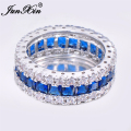 JUNXIN Brand Men Women Blue Round Ring Vintage White Gold Filled Jewelry Christmas Gifts Shipping From US OS-RW0411
