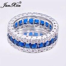 Junxin marca hombres mujeres azul ronda anillo vintage blanco gold filled joyería regalos de navidad libre de nosotros os-rw0411