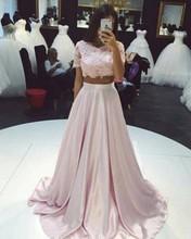Mode Zwei Stücke Prom Kleider 2017 Eine lineLace Top Kurzen Ärmeln Abendkleid Hellrosa Afrikanische Formale Partei Gow
