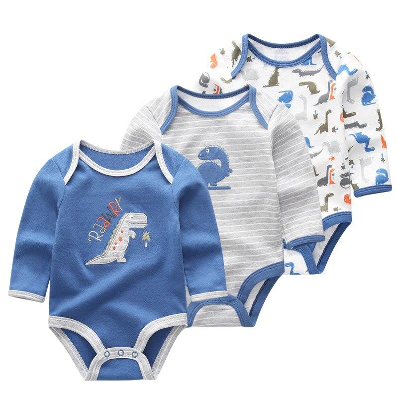 3 шт./лот; Одежда для новорожденных; Одежда для маленьких мальчиков и девочек с героями мультфильмов; 100% хлопок; Детский комбинезон с длинными рукавами; Комбинезон для малышей