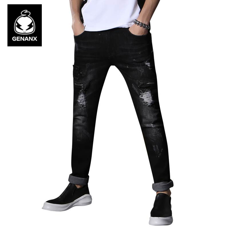 Genanx Brand Men'S Little Feet Pants Cultivate One'S Morality Han Edition Black Casual Jeans Broken Hole Male SIZE 29-36