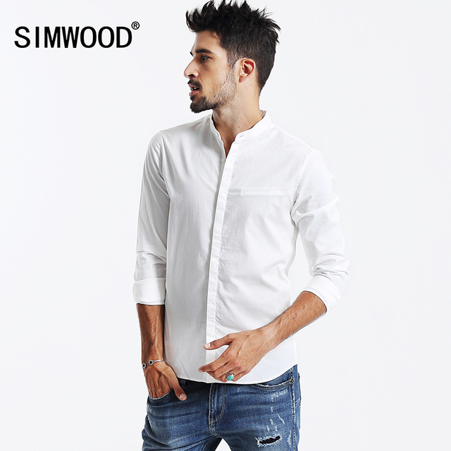 SIMWOOD 2016 Новая Осень Рубашки Мужчины Мода Причинно Camisa Masculina Slim Fit CS1551