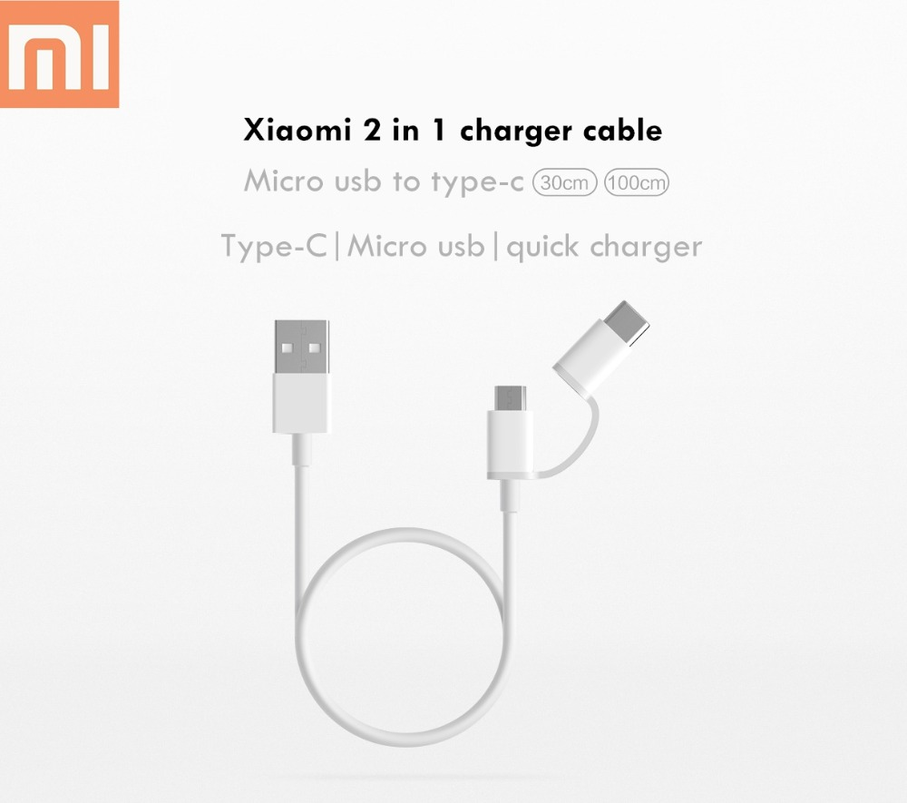 Original xiaomi <font><b>2</b></font> in <font><b>1</b></font> cable micro usb to type-c 2a 30cm supports quick charge sync data line for mi a2 a1 mi 8 6 mix 3 2s max 3 image