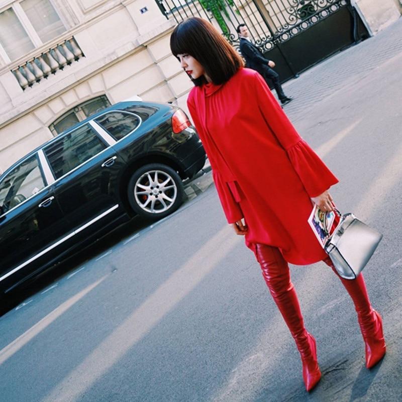 Mode Long Sur Côté Red Moto Sexy En Black short red Boots Le 2018 Mince Boots Cuir Femmes Noir Talons Rouge Boots Bottes Genou dwzax1Xq