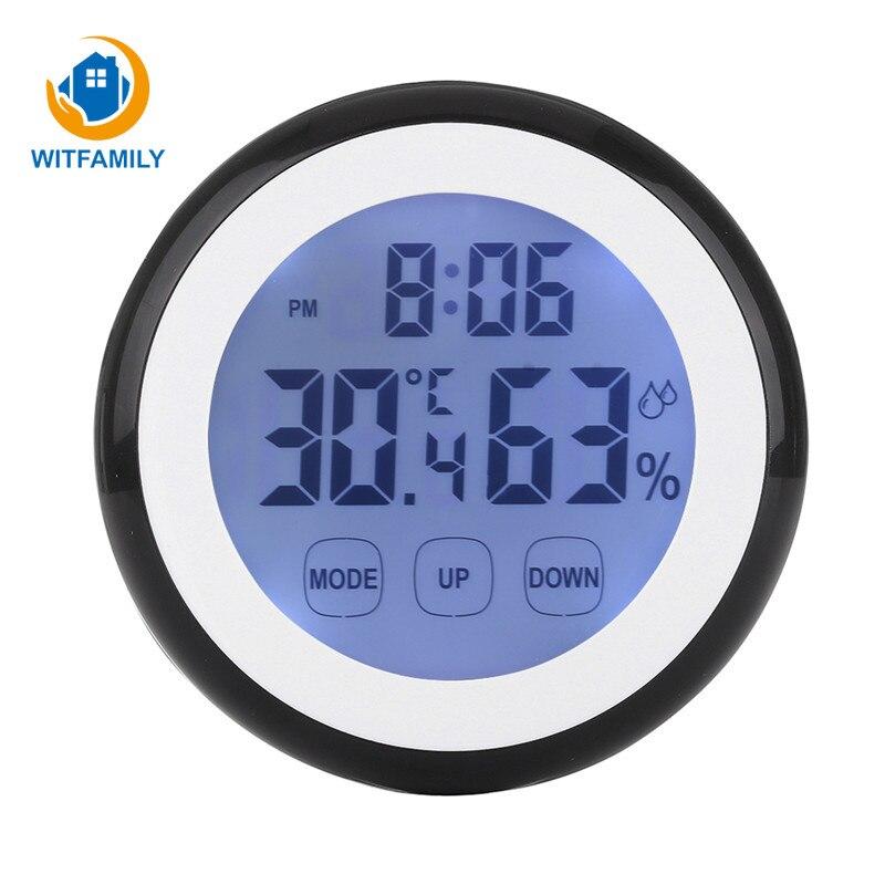 12/24 Hours Wall ClockTouch Sensing Temperature Humidity Alarm Clock Fridge Sticker Of Bedroom Decorate Backlight Digital Watch