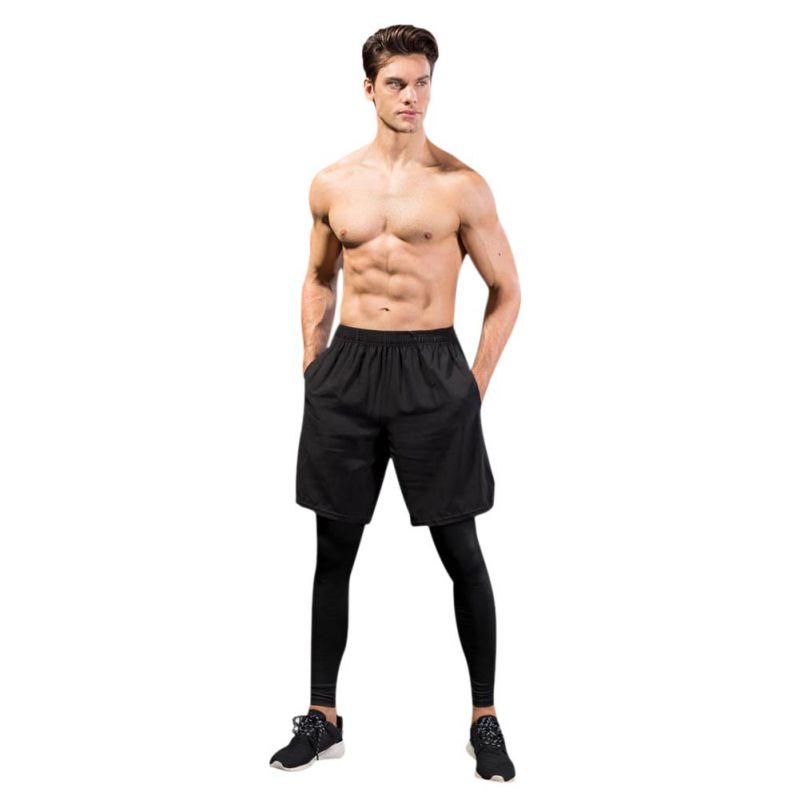 2018 Men Jogging Sport Leggings Running Tights Fitness Compression Pants Exercise Quick-Drying Trousers Run quick-drying Pants
