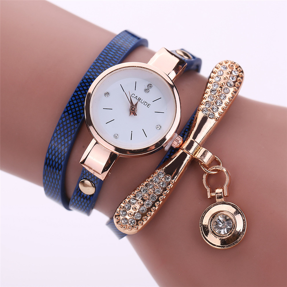 Women Watches Fashion Casual Bracelet Watch Woman Relogio Leather Band Rhinestone Analog Quartz Watch Female Clock Montre Femme(China)