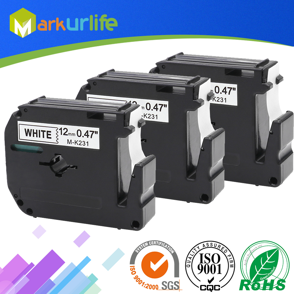 3 PCS/Lot 12mm*8m M-K231 Compatible Brother M Tapes Label cartridge M-K231 MK231 Mk 231 for Brother P touch printer PT100 PT65