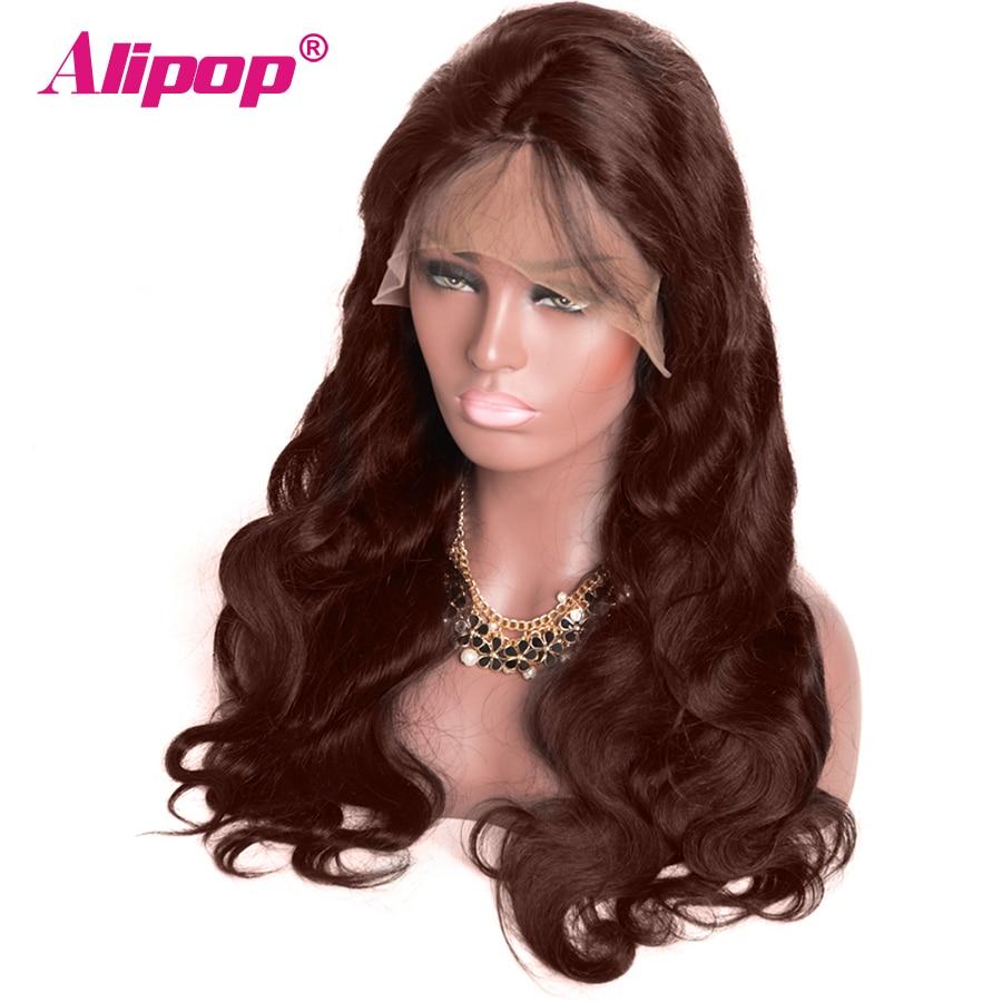 ALIPOP 360 Brasileira Lace wig Frontal Pré Arrancadas Luz Dark Brown Onda Do Corpo Parte Dianteira Do Laço Do Cabelo Humano Perucas 150 Densidade não Remy