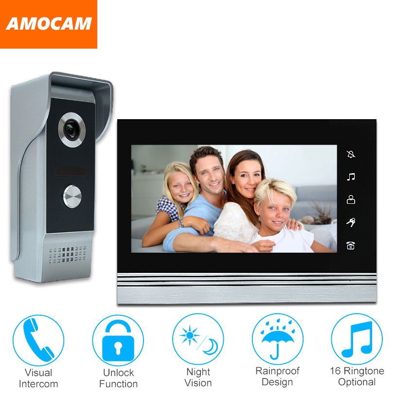 7 video door phone intercom doorbell kits aluminum alloy panel wired video doorphone system 1 IR camera 1 LCD color monitor
