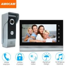 7″ video door phone intercom doorbell kits aluminum alloy panel wired video doorphone system 1 IR camera 1 LCD color monitor