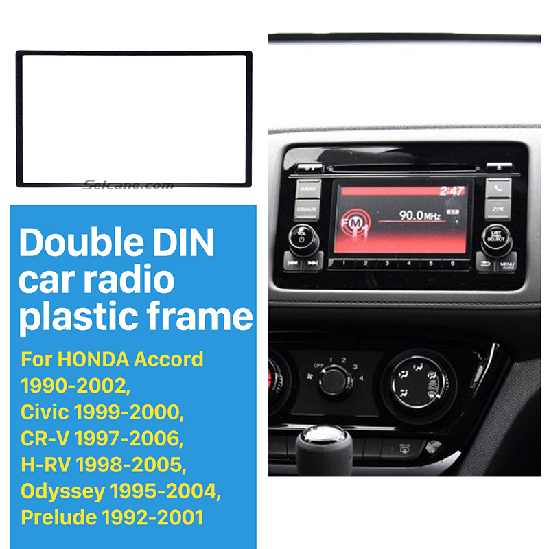 Seicane Car Radio <font><b>2</b></font> <font><b>Din</b></font> Frame Install Dash Bezel Trim Kit Fascia Dash Panel for 1990-2002 Honda FIT Jazz No gap Audio Cover Trim image