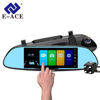 E ACE 7.0 Inch Car Dvr Rearview Mirror Touch Dash Camera Auto Video Recorder FHD 1080P Dual Lens With Rear View Camera Dashcam