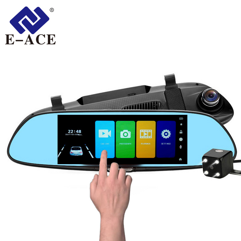 E-ACE 7.0 pollice Dello Specchio di Automobile Dvr Touch Screen Display Super Visione Notturna Auto Video Recorder Full HD 1080 p Dual camara Obiettivo Dashcam