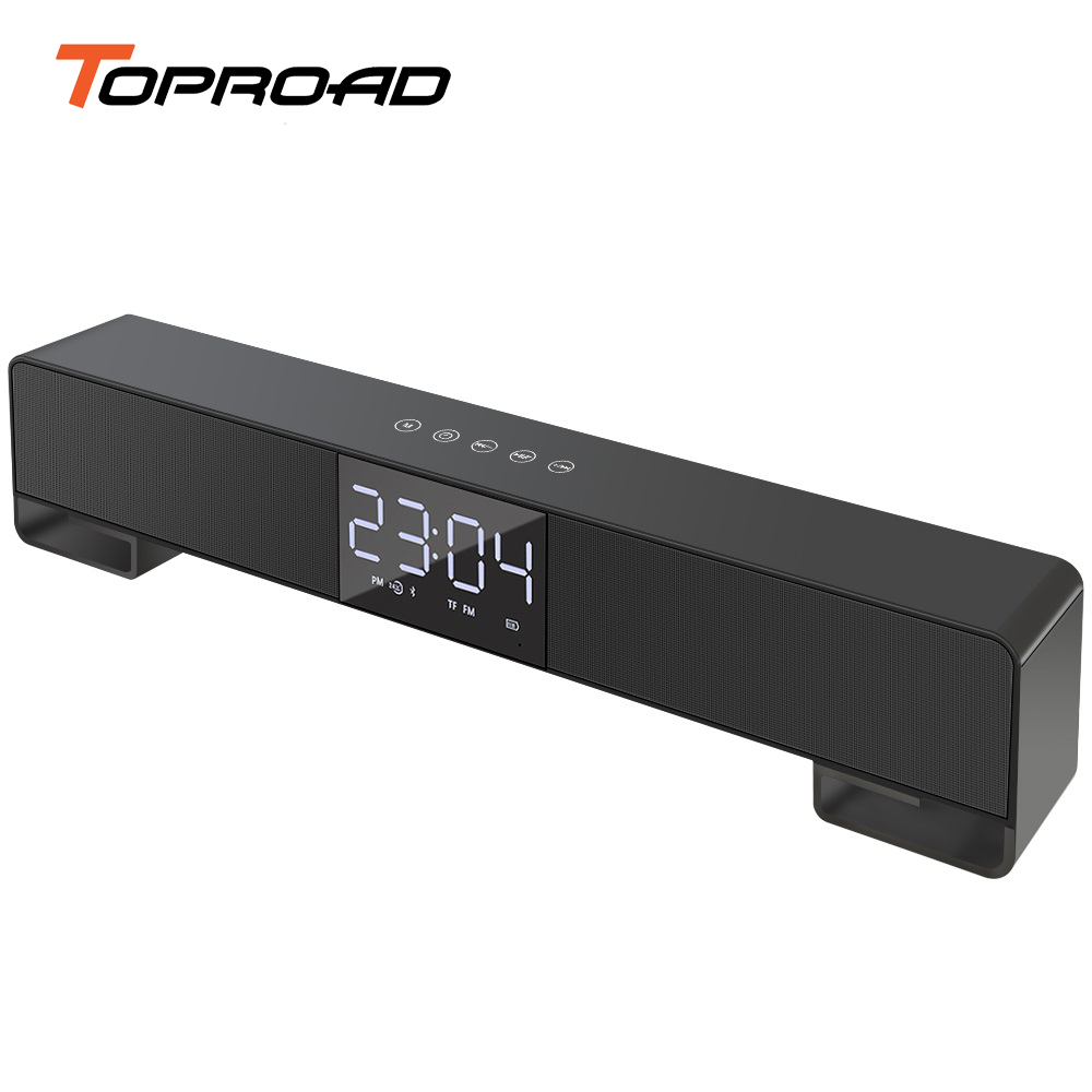 TOPROAD Touch Bluetooth Speaker LCD Screen Wireless Soundbar Subwoofer Stereo Speakers Support Alarm Clock Handsfree FM