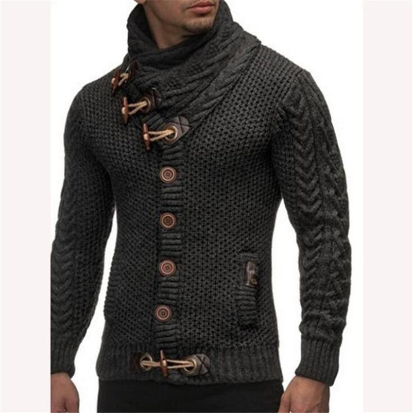 Men's Cardigan Sweater 2018 Men's Casual Brand Casual Shirt Thin Men Buckle Thick Turtleneck Turtleneck Sweaters Mens Sweater