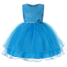 CAILENI Girls Sequined Birthday Party Dresses For 4-12Year Children Evening Princess Dress Ball Gown Kids Girl