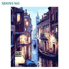SDOYUNO рамка DIY Краска ing комплекты номеров Венеция ночь пейзаж, расписанный вручную масляная краска по номерам уникальный подарок для домашнего декора