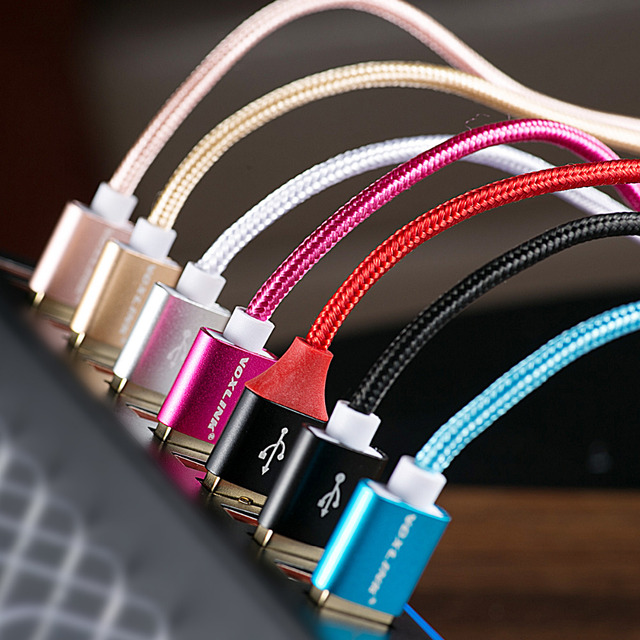 VOXLINK Nylon Braided USB Cable for iphone 8 Plus 1m/2m/3m Fast Charging Sync Data USB Cable For iphone 8 7 6s Plus 5s ipad mini