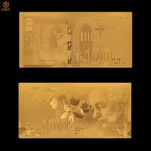 Colecciones de papel de moneda mundial de Israel, nuevos billetes falsos chapados en oro Shekel, regalos de negocios y suministros de decoración para el hogar 100