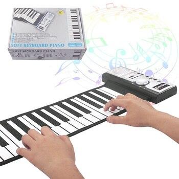 Portable Flexible Digital Keyboard Piano 61 Keys 128 Tones Rhythms Electronic Roll Up Piano Toys FH99