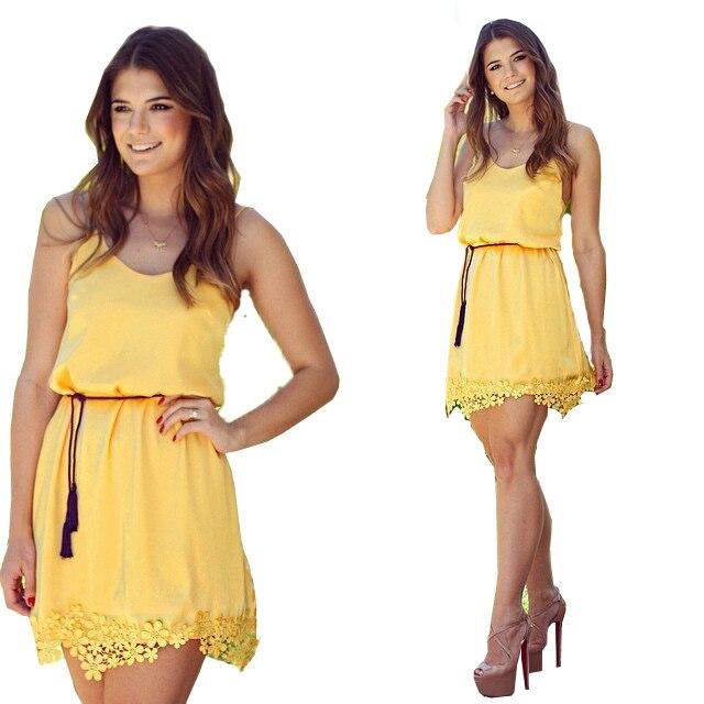 c8d5118f4 Miel moda tropical vestido para mujer vestidos lindos ropa barata china  mujer renda guipir amarillo vestido