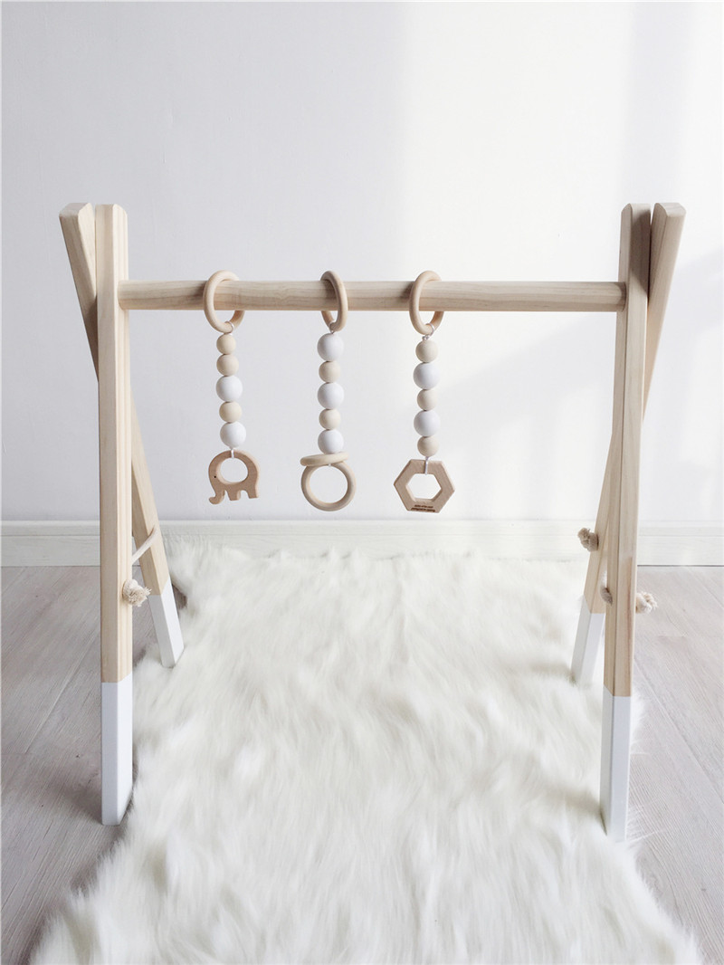 Moderne en bois bébé Gym avec accessoires et jouer Gym jouet pépinière décor sensoriel jouet accessoires Montessori hochets nouveau-né cadeaux