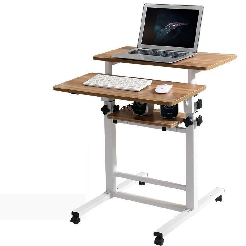 F#8128 Creative home Dening hanging design lazy bed desktop comter desk mobile rotary household seamless bedside table 250309 folding mobile small desk home bed with simple desk paint steel pipe humanized design lazy bedside laptop desk