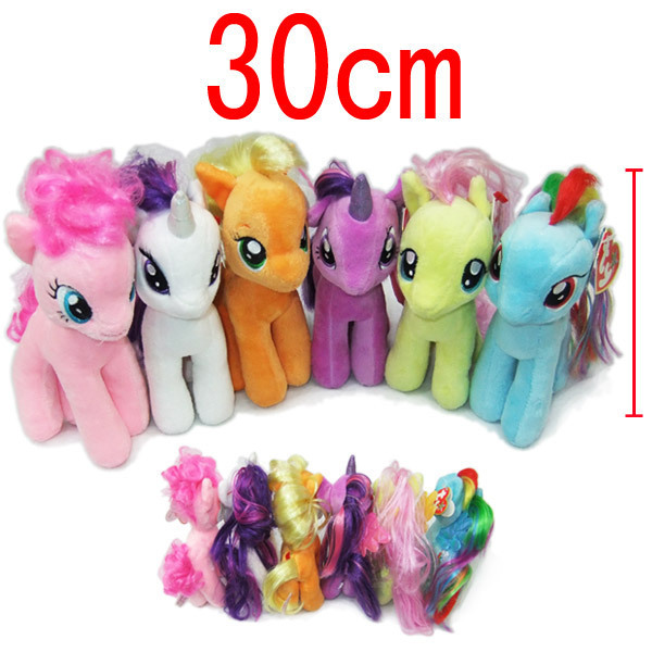 12'' 30CM Free Shipping Big Unicorn Plush Toys Cartoon Stuffed Kids Gift Little Horse Dolls Rainbow Horse Animal Dolls Wholesale