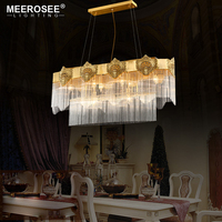 Rectangle Copper Crystal Chandelier Light Lustres Hanging Lamp for Villa Living Dining room Luminaire Lamparas de techo