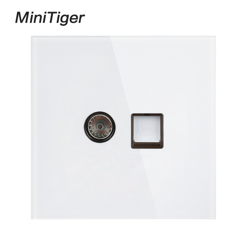 Minitiger White Luxury Crystal Tempered Glass Panel RJ45 Internet Jack With TV Outlet Wall Data Computer Socket