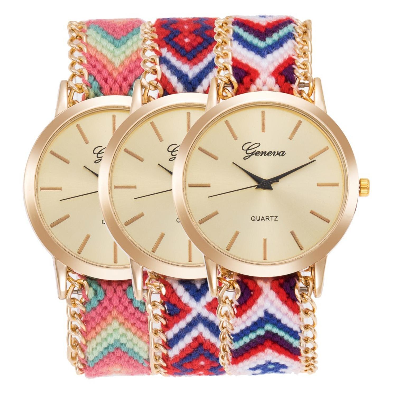 13 kolory genewa panie kobiety splot sukienka zegarek ręcznie pleciony ręcznie tkane moda bransoletka zegarek kwarcowy liny zegarek 100 sztuk/partia w Zegarki damskie od Zegarki na  Grupa 1