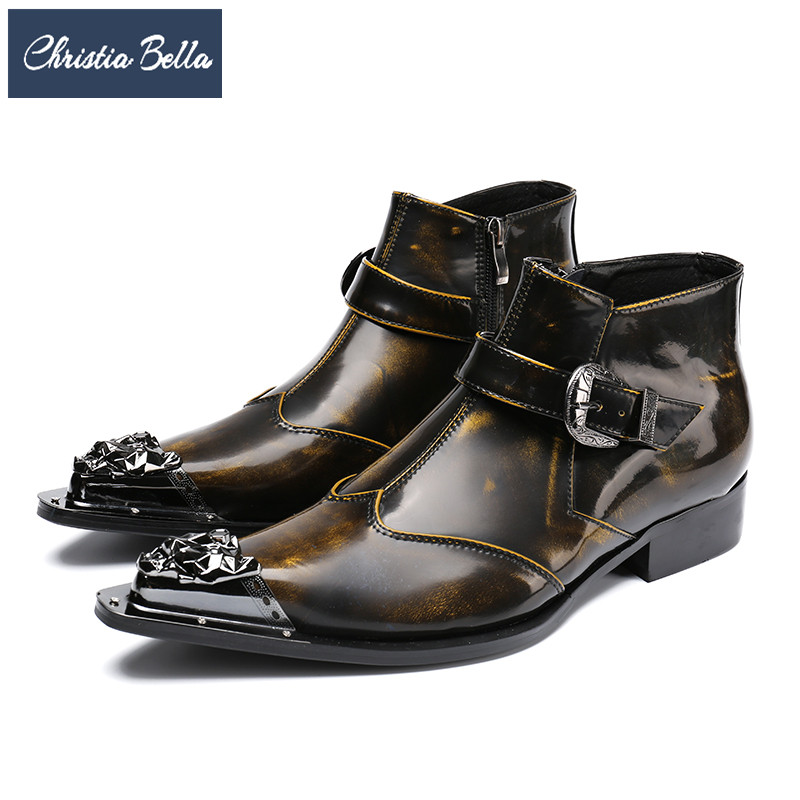 Christia Bella British Style Pointed Toe Men Ankle Boots Genuine Leather Dress Boots Large Size Fashion Buckle Motorcycle Boots christia bella british style men ankle boots rivets genuine leather pointed toe chelsea boots plus size men formal dress shoes