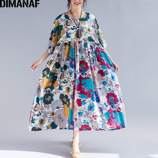 DIMANAF Plus Size Women Beach Dress Summer Sundress Linen Female Vestidos Elegant Lady Loose Print Floral Big Size 5XL 6XL 2019