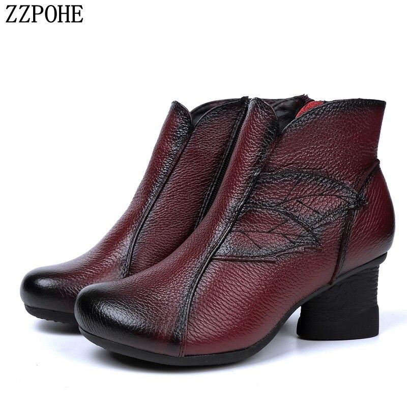 ZZPOHE Outono Inverno Mulher Genuine Ankle Boots de Couro Liso Sapatos Casuais Femininas Botas Sapatos Das Senhoras Das Mulheres Neve Quente À Prova D' Água