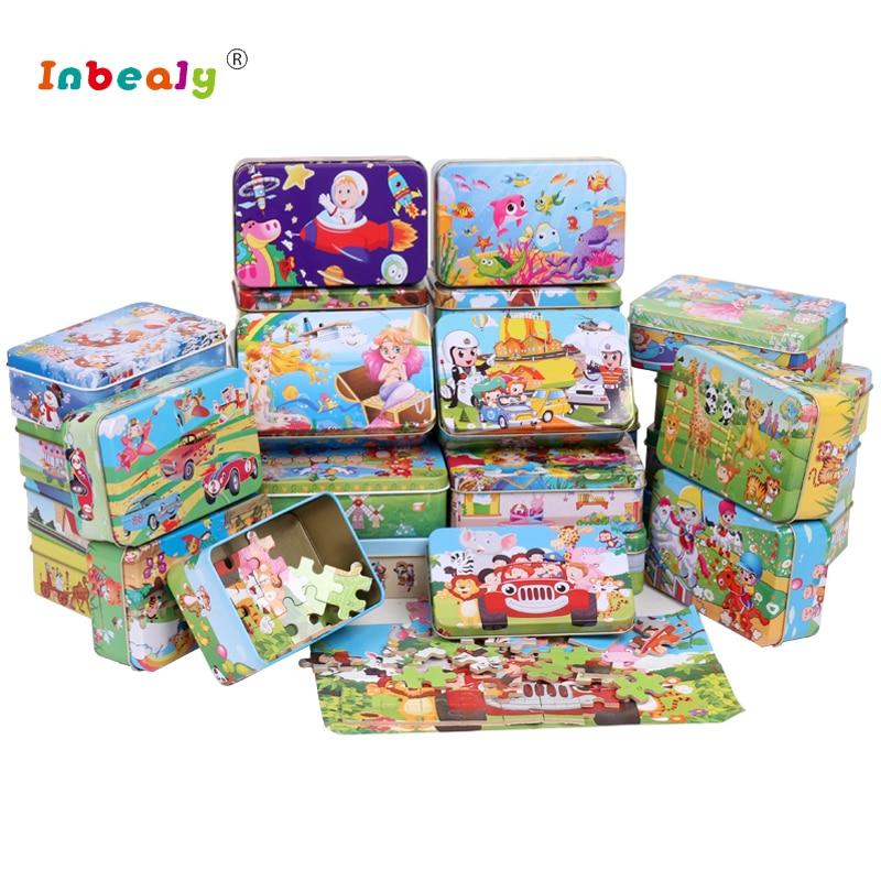 цена на 60Pcs/Set 3D Wooden Puzzle Cartoon Toy DIY Wood Puzzle Iron Box Package Jigsaw Puzzle Educational Montessori Toys for children