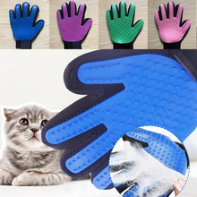 лучшая цена Blue Brush Glove For Animal Cat Cleaning Brush Finger Silicone Gloves For Cats Dogs Pet Hair Remover Glove Cat Grooming