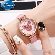 Женские милые умные часы с Минни, милые розовые кварцевые часы с кожаным ремешком, подарок, роскошные часы с кристаллами для молодежи