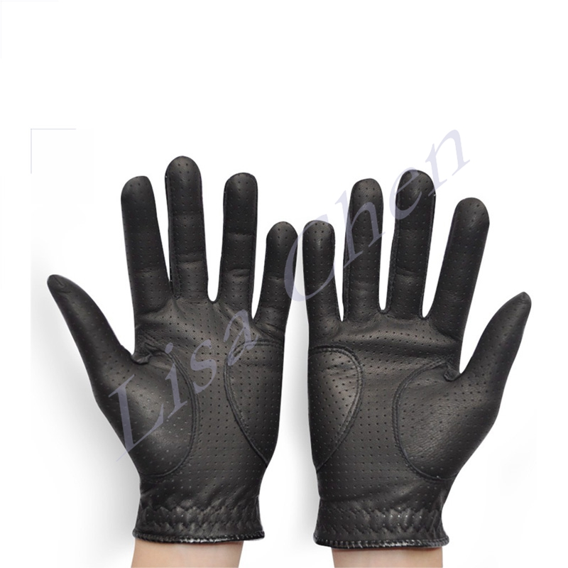 New high quality Men s Golf font b Gloves b font black sheepskin holes left and