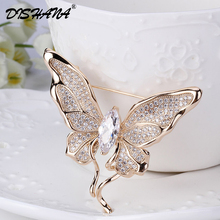 Dishana Women Gold color Brooch Pins Butterfly Cubic Zirconia Broches For Women Mujer Broches Jewelry Fashion