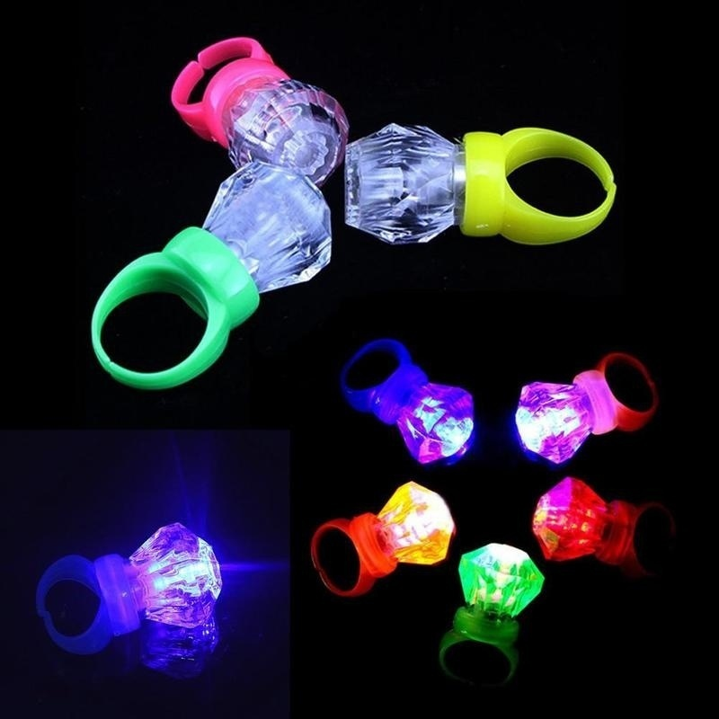 100 pcs All Green Party LED Laser Finger Light Torch Beam Ring Club Rave Lights