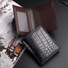 McParko Men Wallets Genuine Leather Crocodile Wallet men Luxury Brand Alligator Male Short Purse Bifolds Brown