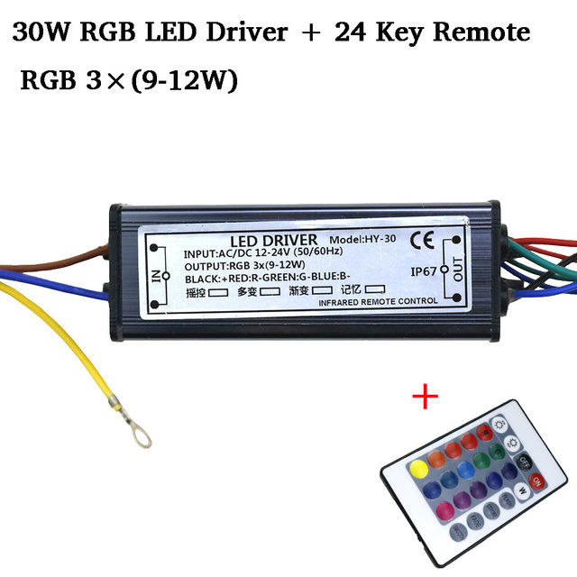 RGB LED Driver DC12-24V 10W 20W 30W 50W  for RGB LED Chip COB SMD LED Beads with 24 Key Remote For DIY Floodlight Spotlight