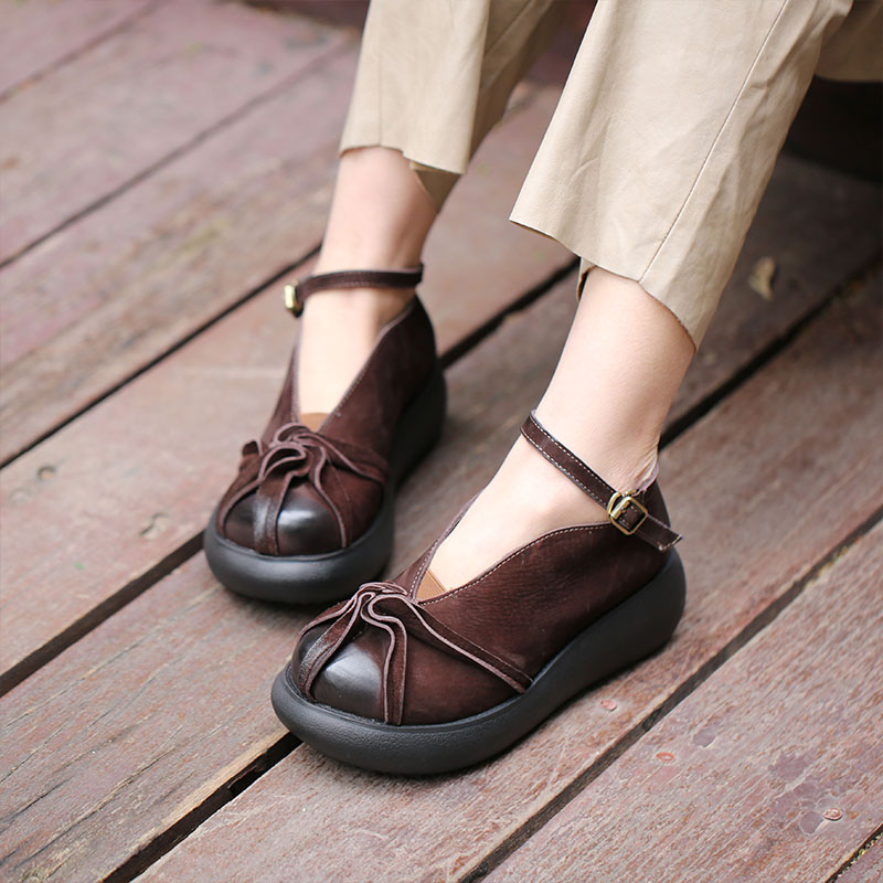 VALLU 2018 véritable cuir femmes appartements plate forme bout rond cheville sangle à la main Vintage femmes chaussures plates-in Chaussures plates femme from Chaussures    1